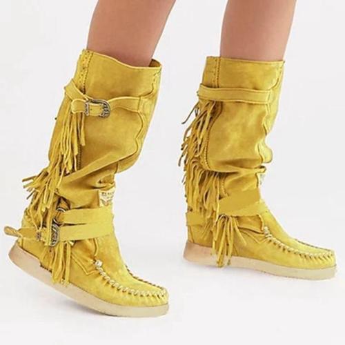 Women Stylish Tassel Buckle Boots