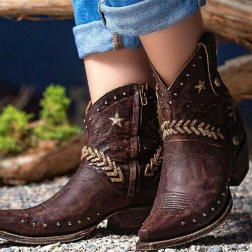 Women star embroidered ankl;e boots cowgirl boots