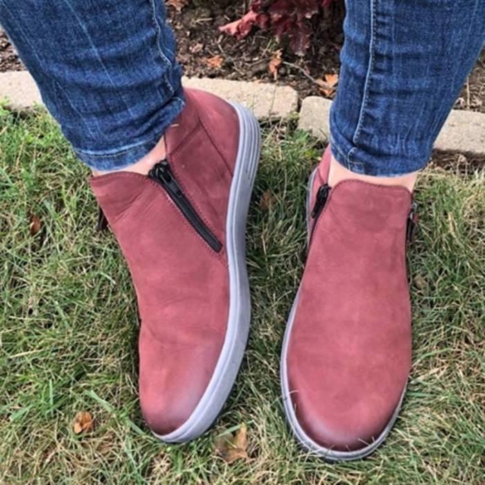 Women Retro Zipper Sizeable Flat Heel Boots