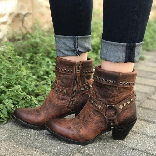 Brown Spring/Fall Chunky Heel Boots