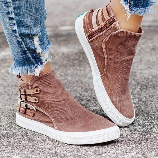 WomenZipper Buckle  Flat Heel Sneakers