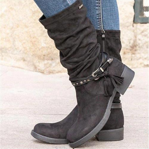 Women Simple Elegant Tassel Zipper Mid-calf Boots