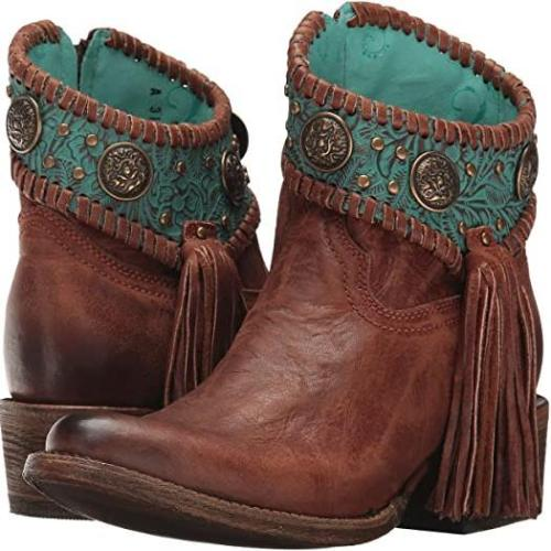 Women Vintage Side Zipper Tassel Ankle Boots