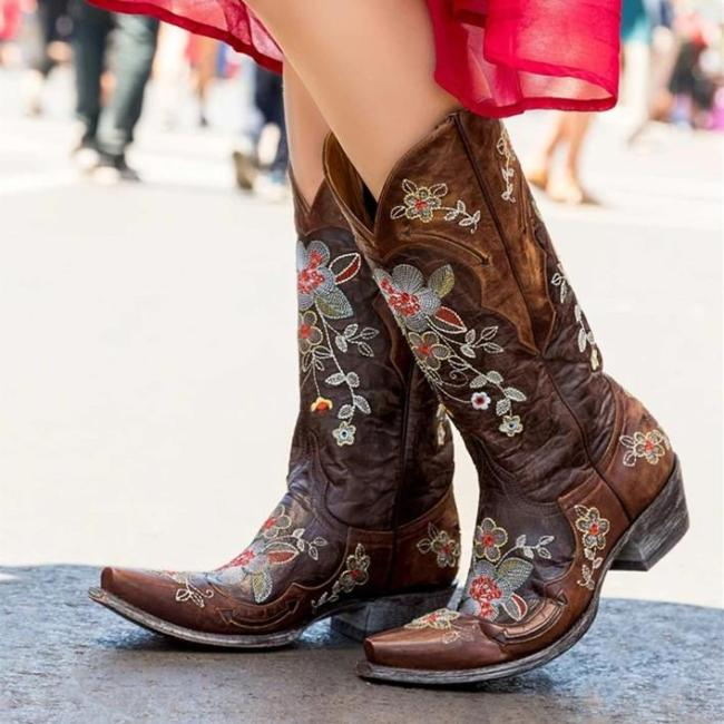 Daily Low Heel Leather Boots