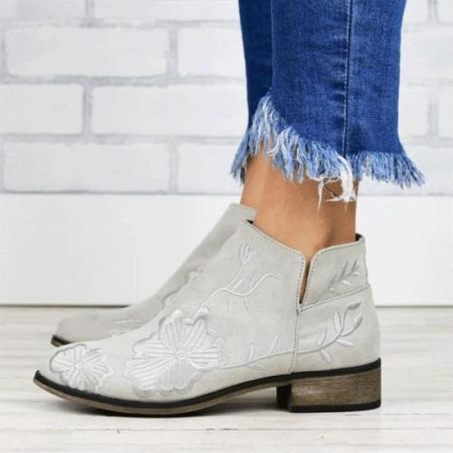 Retro Chinese ethnic embroidery women's short boots