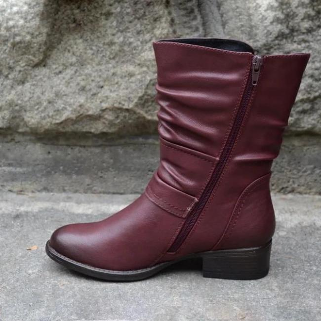 Buckle Pu Leather Boots