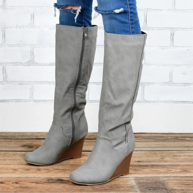 Long Calf Wedge Boots