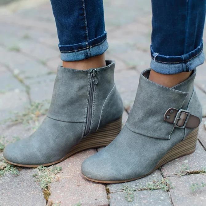 Zipper Block Heel Boots