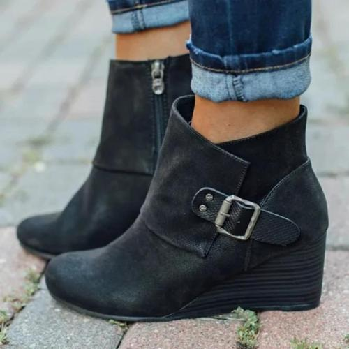 Zipper Block Heel Boots