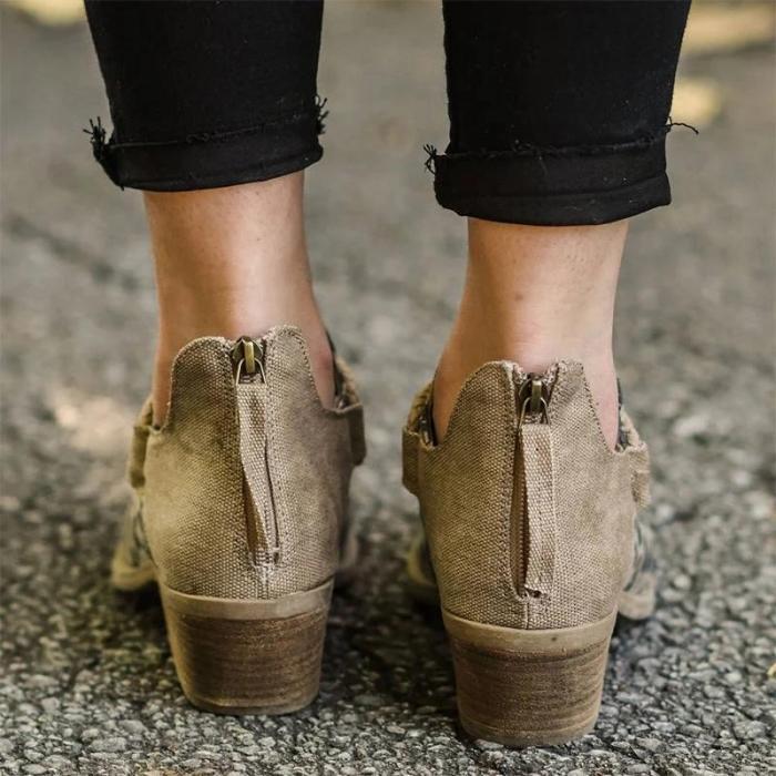 Women Stylish Canvas Leopard Mixed Colors Split Joint Zipper Ankle Boots