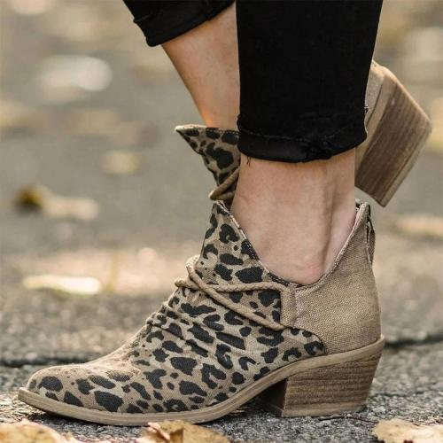Women Stylish Canvas Leopard Mixed Colors Split Joint Zipper Ankle Boots
