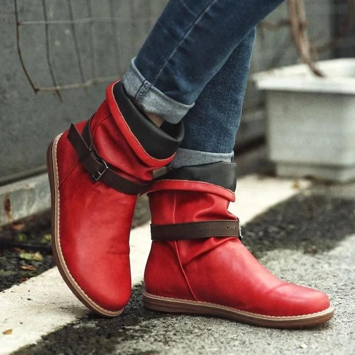 Women Retro Leather Buckle Belt Round Toe Flat Short Boots