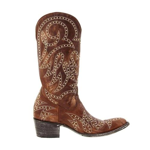 Retro Women Rivet Pattern Casual Pointed Toe Cowboy Boots
