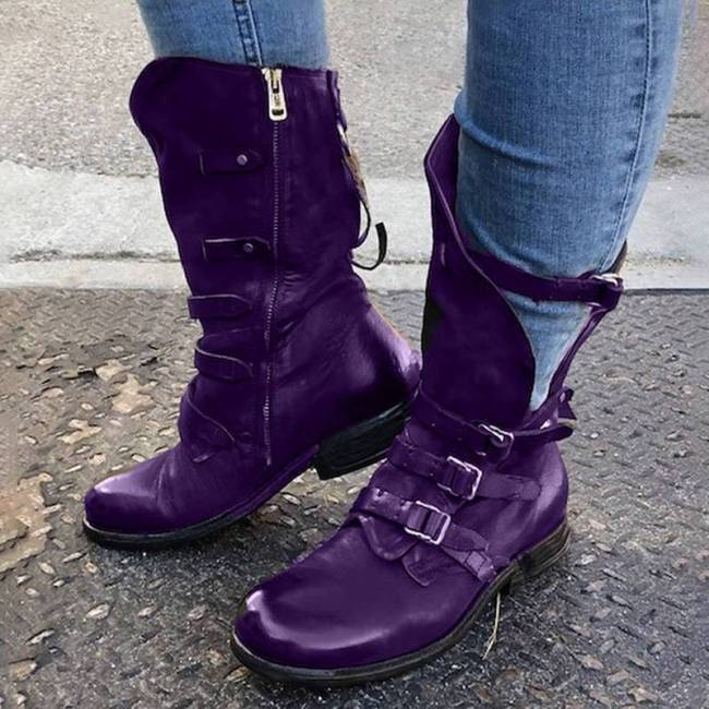 Pu Round Toe Buckle Boots