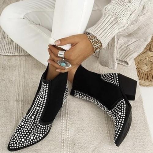 Women Black Rivet Boots