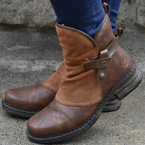 Brown Pu Low Heel Booties
