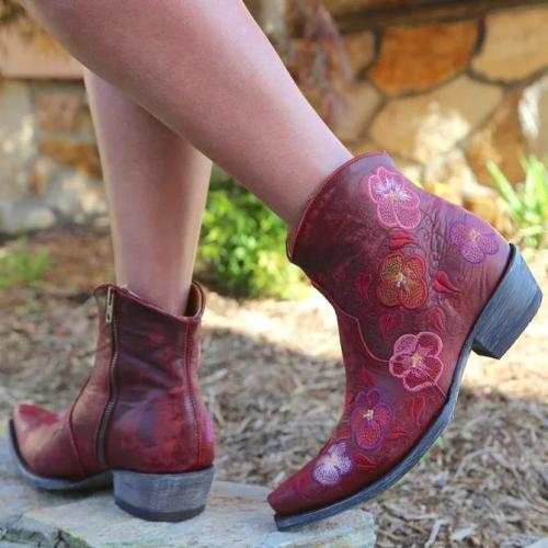 Red Floral Embroidered Date Block Heel Boots