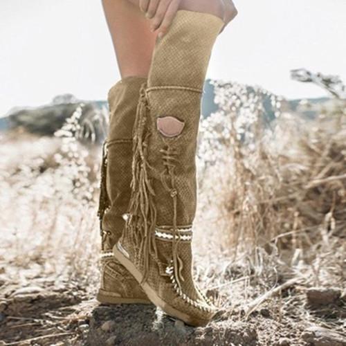 Med-Calf Tassel Boots