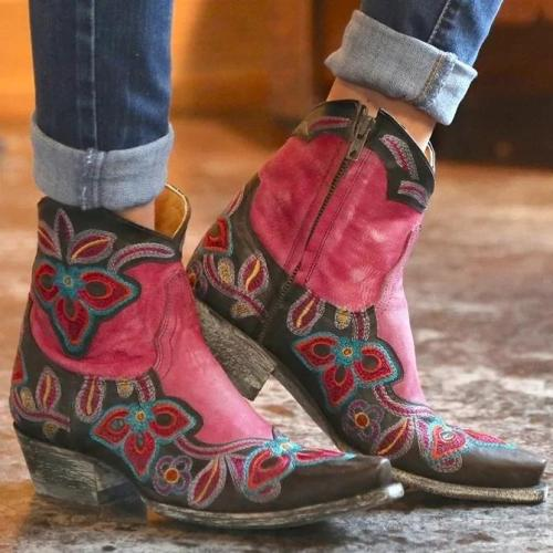 Red Date Block Heel Artificial Leather All Season Floral Embroidered Boots
