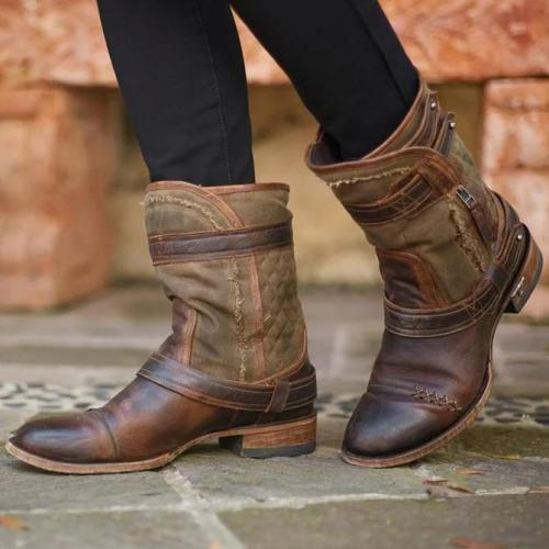 Spring Artificial Leather Casual Buckle Boots