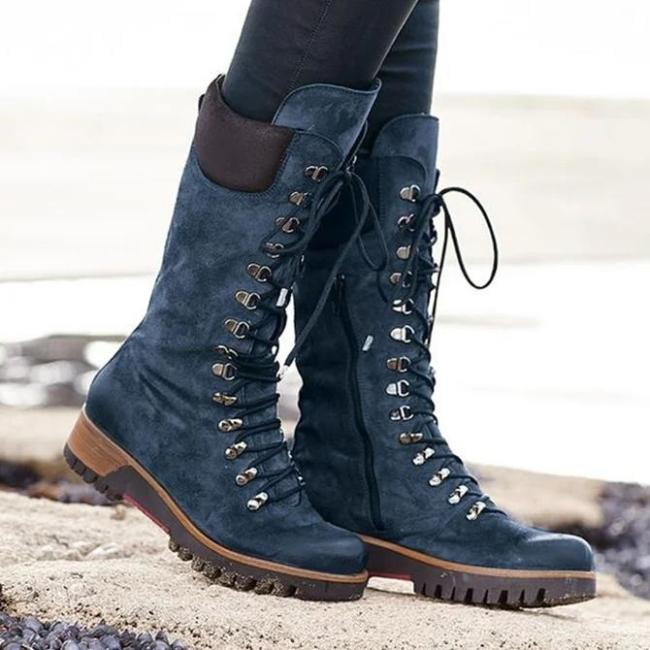Low Heel Zipper Date Artificial Leather Boots
