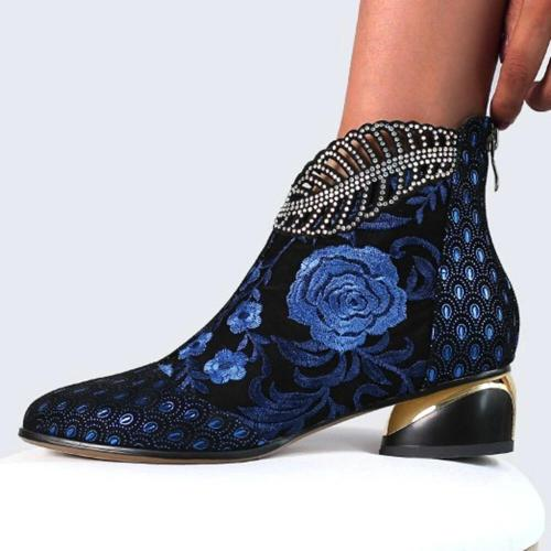 Comfy Soft Leather Embroidered Flowers Rhinestone Chunky Heel Summer Boots