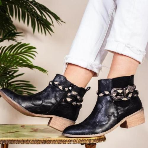 Black Low Heel Leather Fall Boots