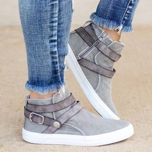 Women Casual Buckle Flat Heel Sneakers