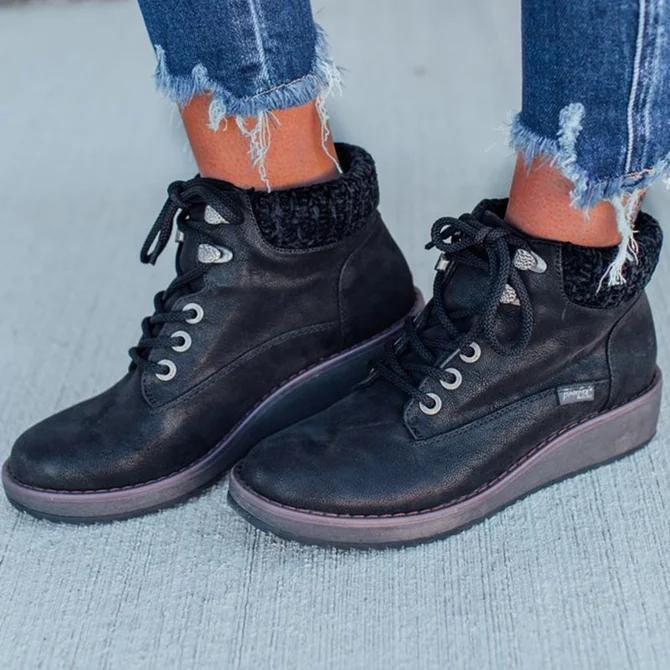 Casual Round Toe Low Heel Fall Boots