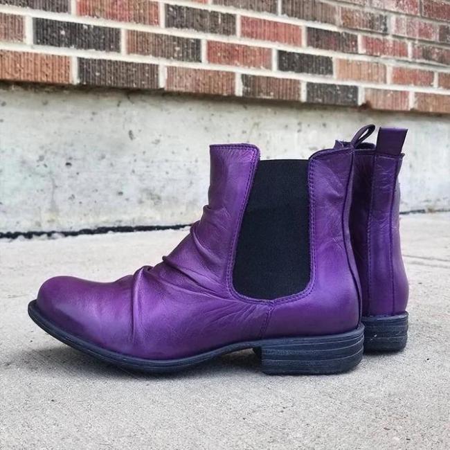 Leather Seaside Low Heel Boots
