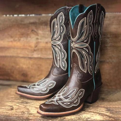 Women's Large Size Elegant Retro Coffee Color Chunky Heel Cowboy Boots