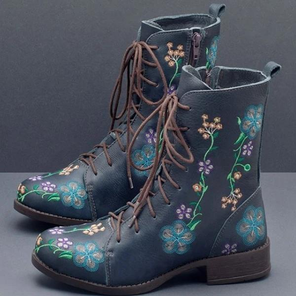Women Retro Flowers Embroidered Leather Strappy Zipper Block Heel Mid Calf Boots