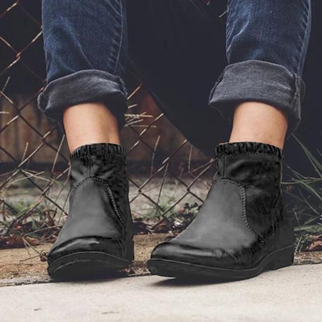 Daily Zipper Flat Heel Artificial Leather Boots