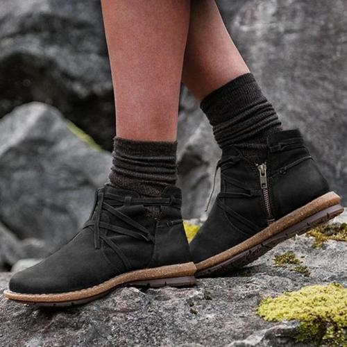 Artificial Leather Low Heel Lace-Up All Season Boots