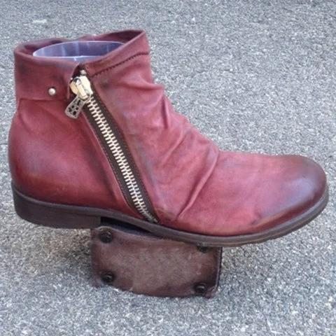 Zipper Casual Artificial Leather All Season Boots