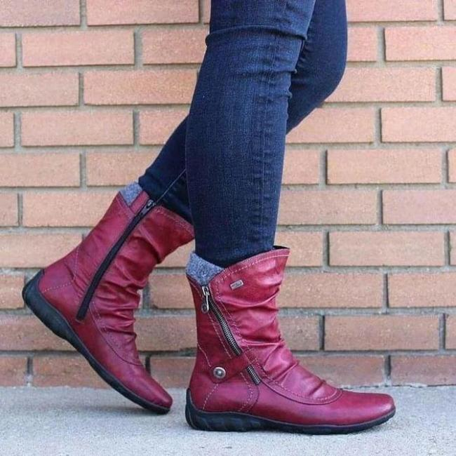 Casual Flat Heel Leather Boots