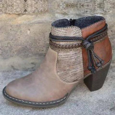 Brown Pu Block Heel Boots