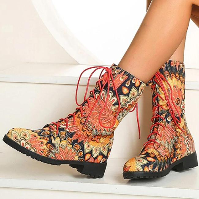 Floral Block Heel Round Toe Lace-up Mid-calf Cowboy Boots