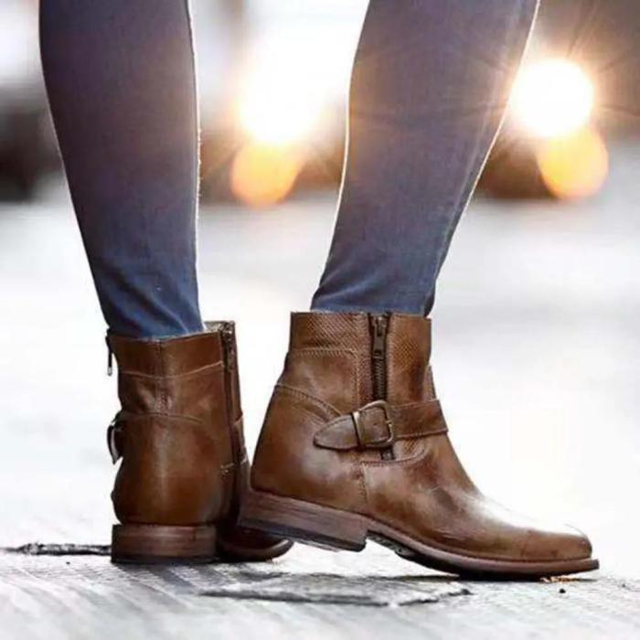 Women Buckle Decoration Zipper Cowbooy Western Boots
