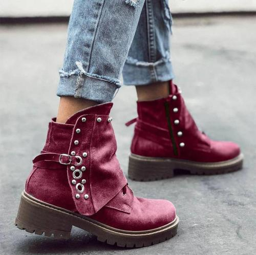 Women Retro Rivet Irregular Design Zipper Chunky Heel Boots