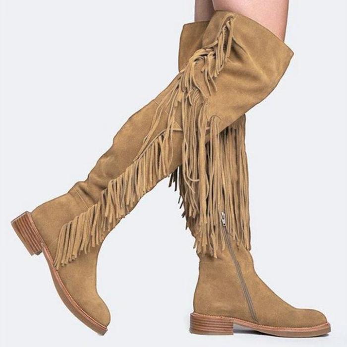 Women's Vintage Tassel Solid Low Heel Thigh High Boots