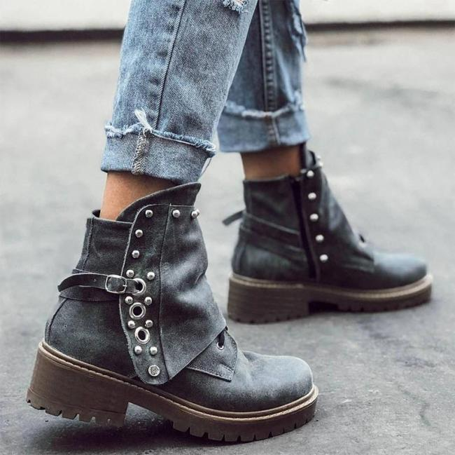 Women Retro Rivet Irregular Design Zipper Chunky Heel Boots