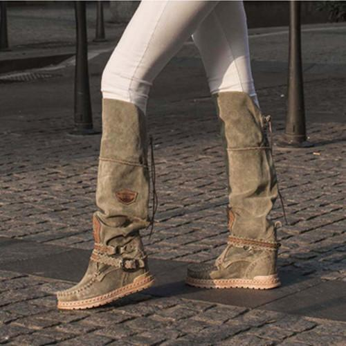 Mid-Calf Suede Boots