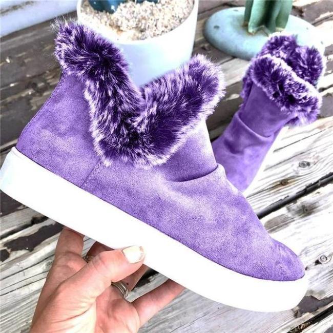 Fur Flat Heel Boots