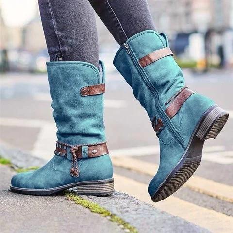 Women's Buckle Zipper Mid-Calf Boots