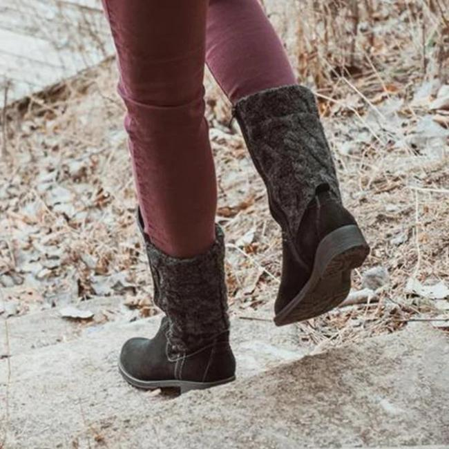 Zipper Low Heel Winter Boots
