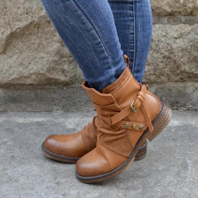 Leather  Buckle Boots
