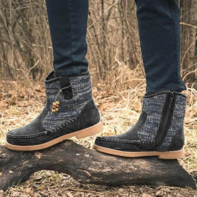 Daily Flat Heel Zipper Boots