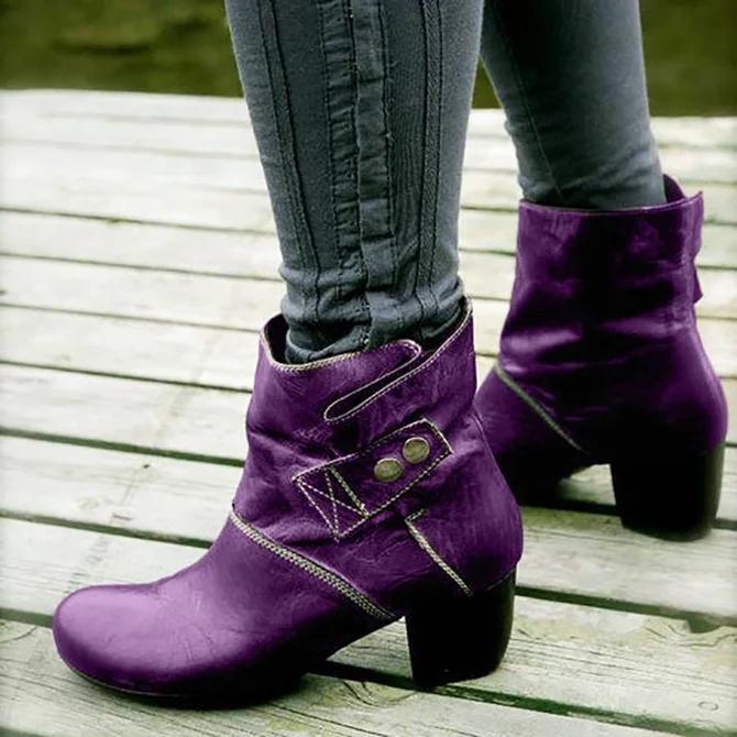 Zipper Artificial Leather Winter Block Heel Boots