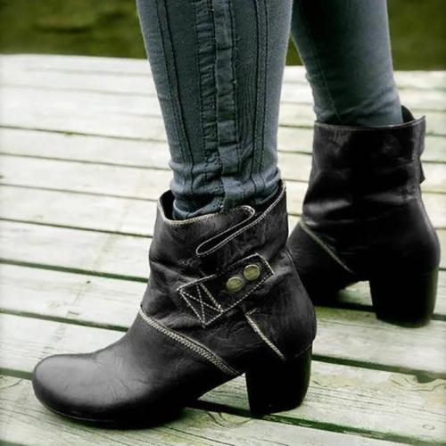 Zipper Artificial Leather Winter Block Heel Boots